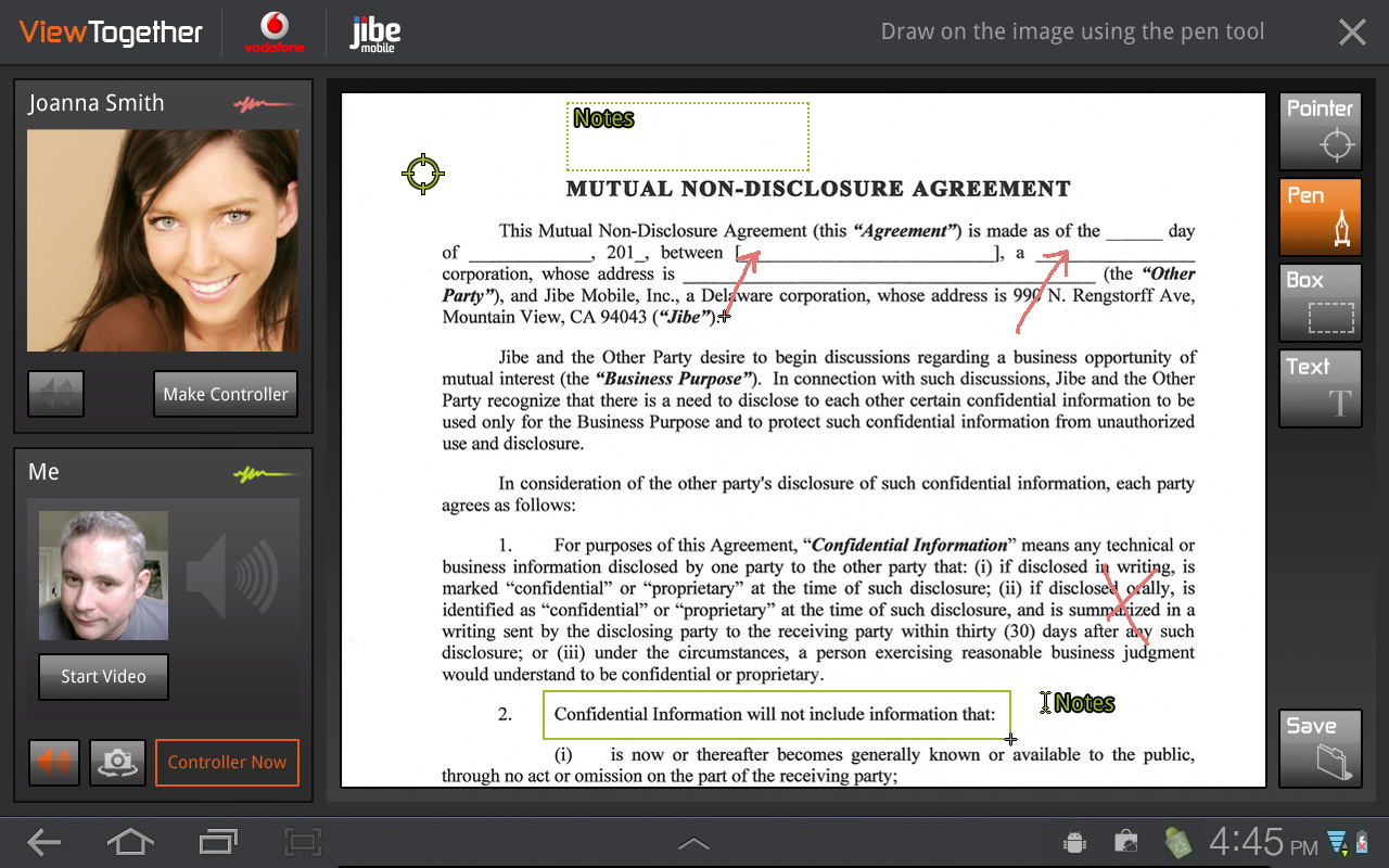 Live document sharing and annotation UI