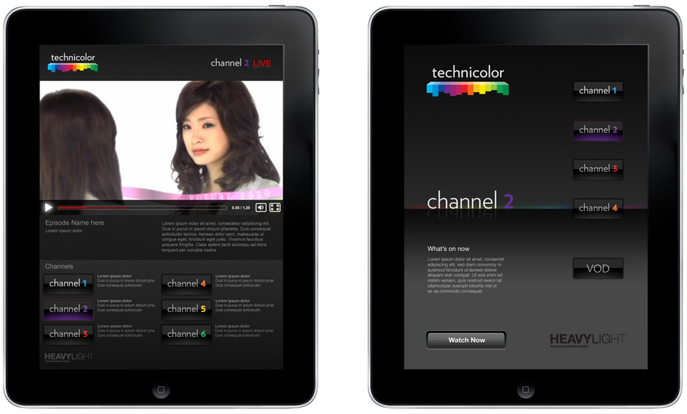 Technicolor VOD app design on iPad