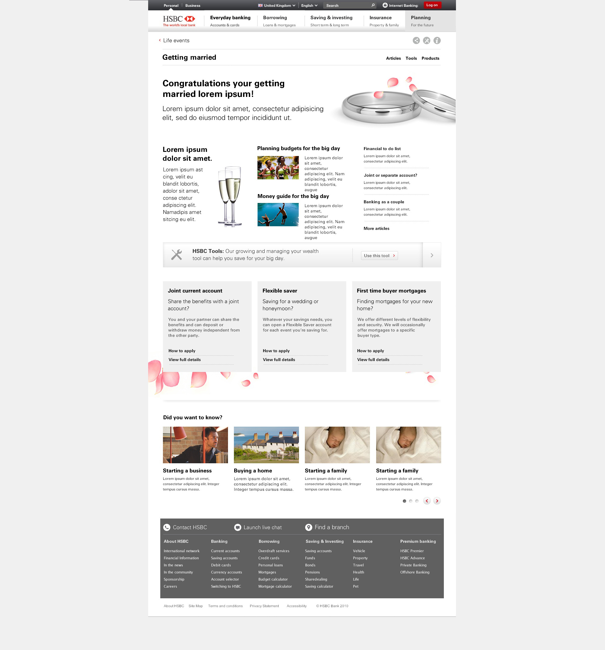 HSBC Financial Planning page design