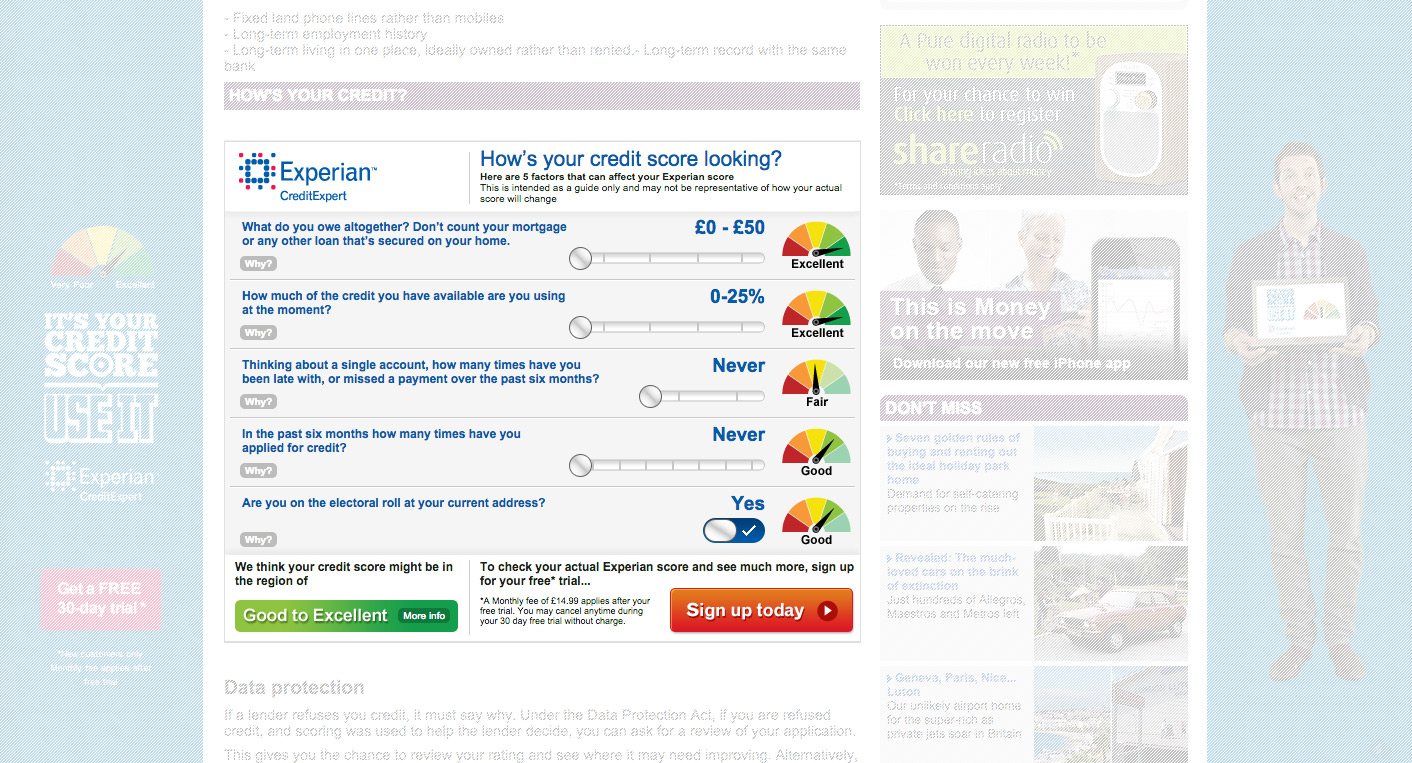 Experian quick credit check widget