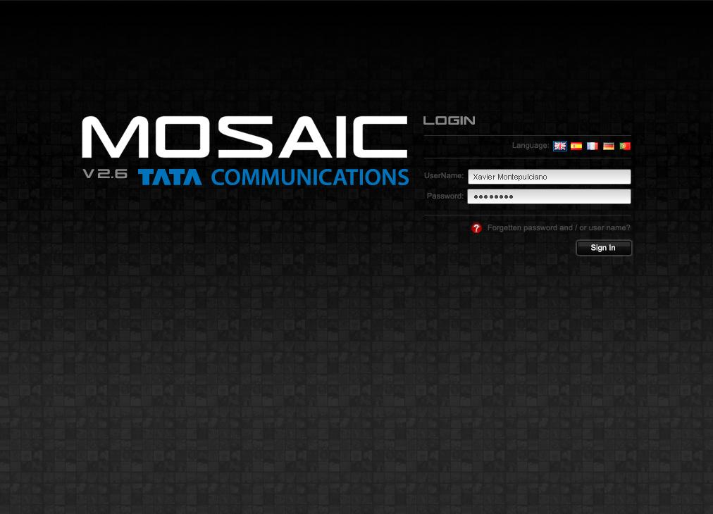 TATA Mosaic login screen